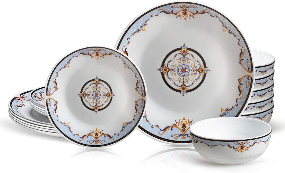 DANMERS 18-Piece Dinnerware Set Service for 6,Dinner Plates and Bowls,Chip Resistant Dish Sets,Classical Floral