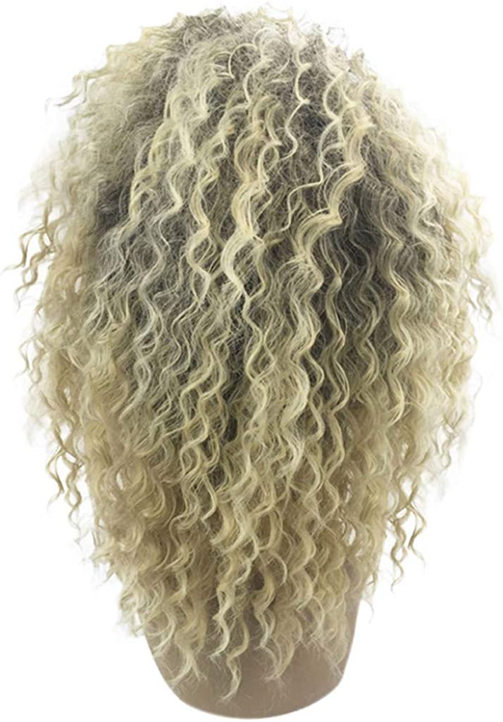 Xiarookp Fashion Synthetic Wig Medium Blonde Kinky Curly Hair Extensions Natural American Hairpiece Wigs for Women