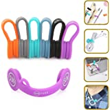 SUNFICON 6 Pack Cable Organizers Magnetic Cable Clips Earbuds Cords Winder Bookmark Clips Whiteboard Noticeboard Fridge Magnets USB Cable Manager Keeper Wrap Ties Straps for Home Kitchen,Office,School