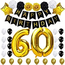 """60TH Birthday Party Decorations Kit- """"HAPPY BIRTHDAY"""" Black Banner ,40inches Gold Foil """"60"""" Balloon, Paper Flower,Star and Latex Balloon,Classy Party Supplies for Sixty By KUNGYO"""