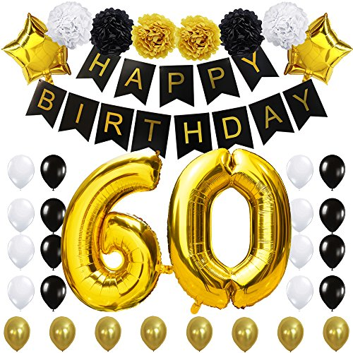 "Birthday Party Decorations Kit- ""Happy Birthday"" Black Banner, 40inches Gold Foil Balloon, Paper Flowers,Star and Latex Balloons,Classy Party Supplies ..."