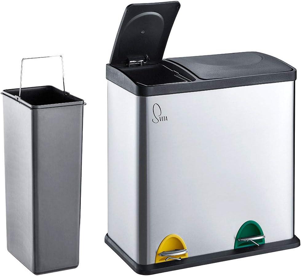 SVITA TC200Combo200 Küchen-Eimer 200Liter kombiniert (2000L+2003L) Edelstahl  doppelt Abfalleimer 200er-Mülleimer Mülltrennung Treteimer