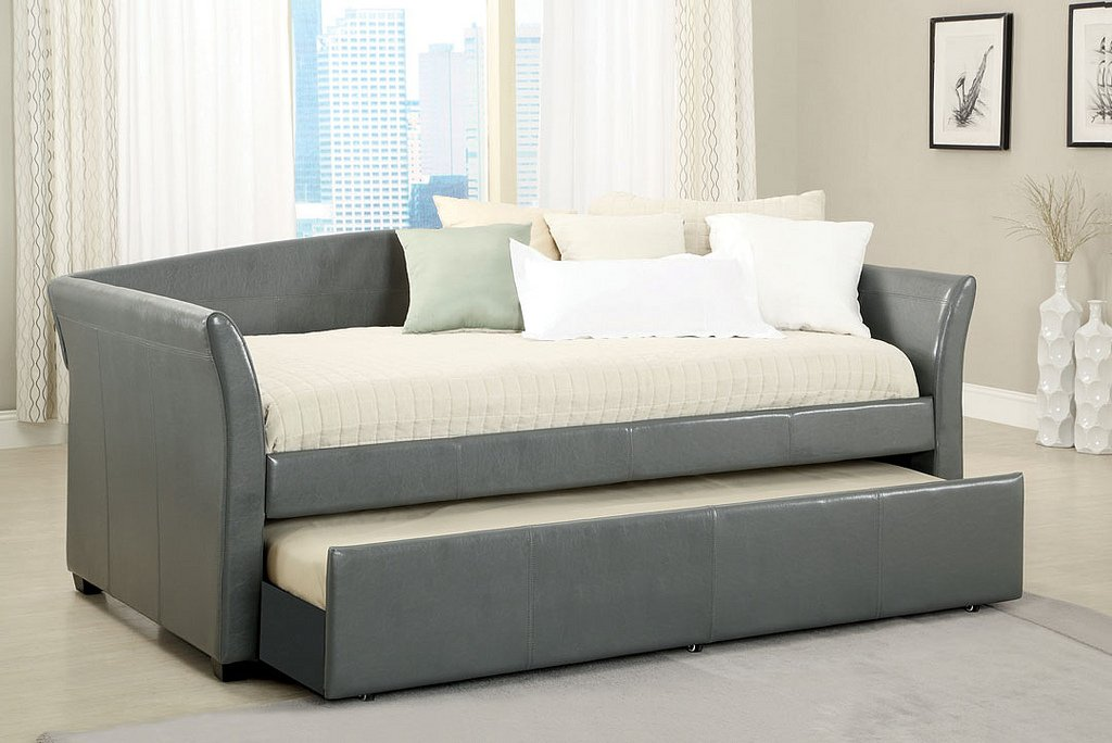 New Gray Upholstered Bycast Leather Twin Day Bed With Twin Trundle Bed:  Amazon.co.uk: Kitchen U0026 Home
