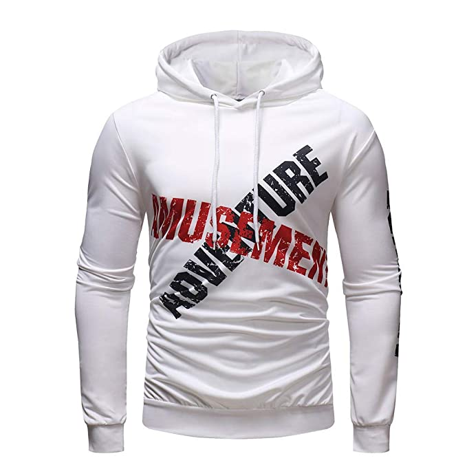 Amazon.com: iMakcc Mens Letter Printed Hooded Sweatshirt Long Sleeve Outwear Tops Slim Fit Hoodie: Clothing
