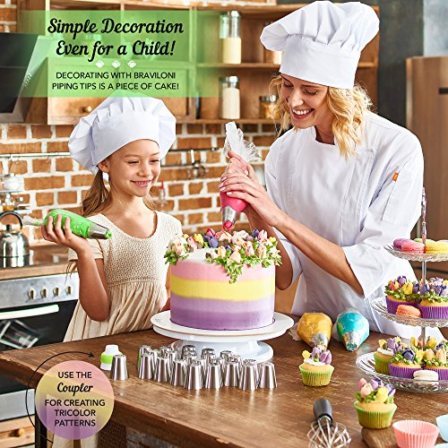 Russian Piping Tips - Cake Decorating Supplies - 39 Baking Supplies Set - 23 Icing Nozzles - 15 Pastry Disposable Bags & Coupler - Extra Large Decoration Kit - Best Kitchen Gift by Braviloni (Image #5)
