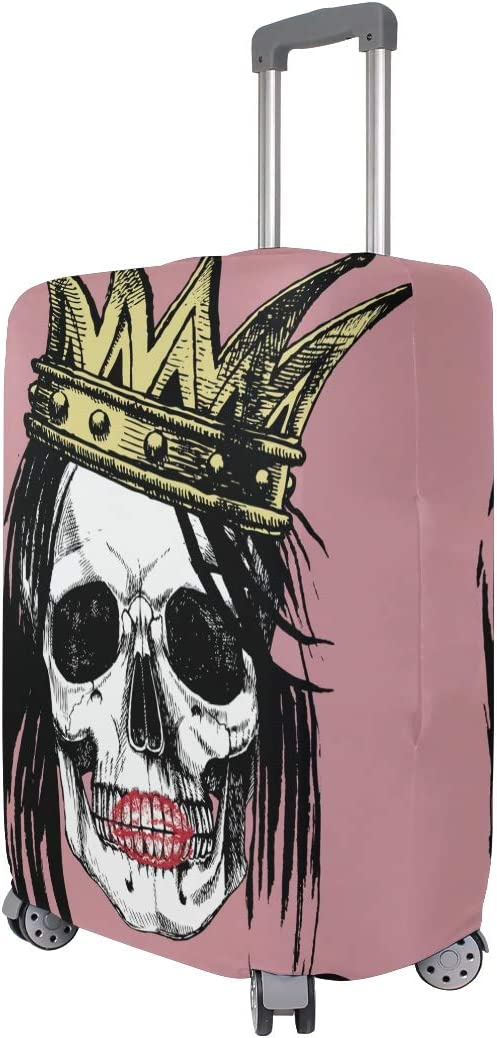 FOLPPLY Punk Skull Crown Pink Luggage Cover Baggage Suitcase Travel Protector Fit for 18-32 Inch