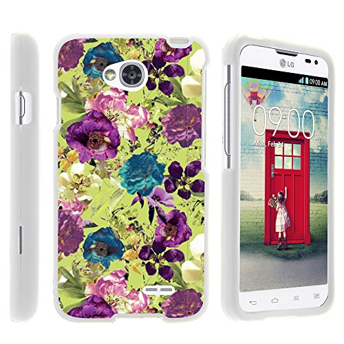 LG Ultimate 2 Phone Case, Full Body Case Protector Cover with Design for LG Optimus L70 MS323, LG Optimus Exceed 2 VS450PP, LG Realm LS620, LG Ultimate 2 L41C from MINITURTLE - Yellow Purple Flowers