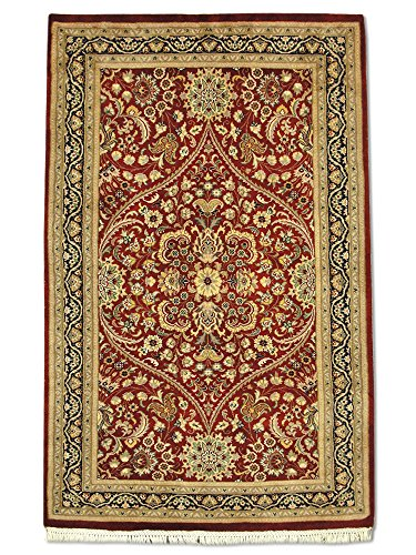 Traditional Persian Handmade Kashan Rug, Wool, Burgundy, 3' x 5' (ft)