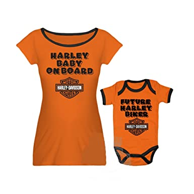 72b3b17c536d Harley-Davidson Baby Mommy   Me B S Harley Baby On Board Orange ...