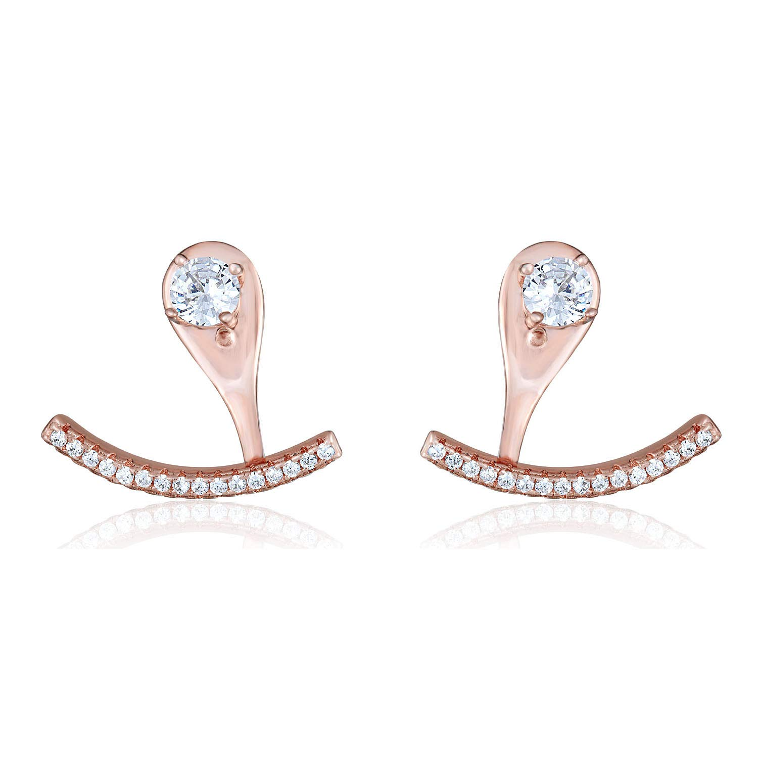 925 Sterling Silver Rose-Gold plated Simulated Diamond CZ Solitaire Stud Earrings and Curved Bar Pendulum Drop Jackets by AVORA