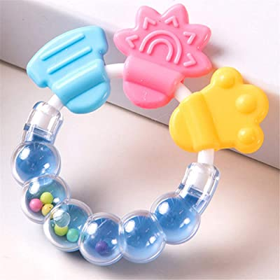 JINGYANHUA Silicone Toothbrush and Environmentally Safe Baby Teether Teething Ring Kids Teether Children Chewing,Blue: Home & Kitchen