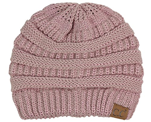 - C.C Trendy Warm Chunky Soft Stretch Cable Knit Beanie Skully, Rose Metallic