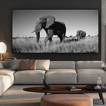 Elefante Pinturas sobre lienzo Animales en blanco y negro Carteles e impresiones de pared Cuadros de pared para sala de estar Sin marco