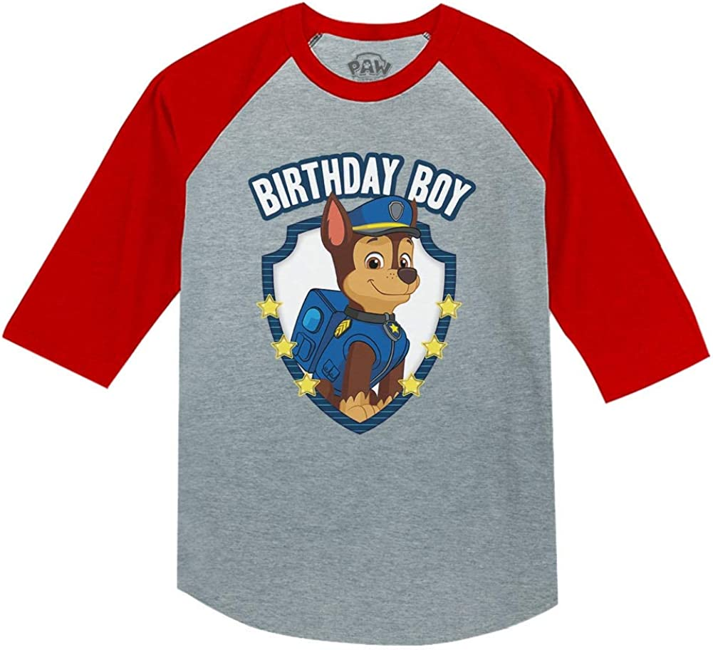 Official Paw Patrol Chase Boys Birthday 3//4 Sleeve Baseball Jersey Toddler Shirt