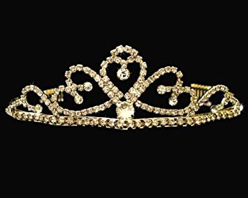 1ebc375495a81b Image Unavailable. Image not available for. Color: SC Gold Bridal Wedding  Tiara With Heart and Round ...