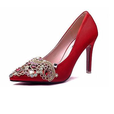 AdeeSu Womens Rhinestones Spikes Stilettos Pointed-Toe Suede Pumps Shoes