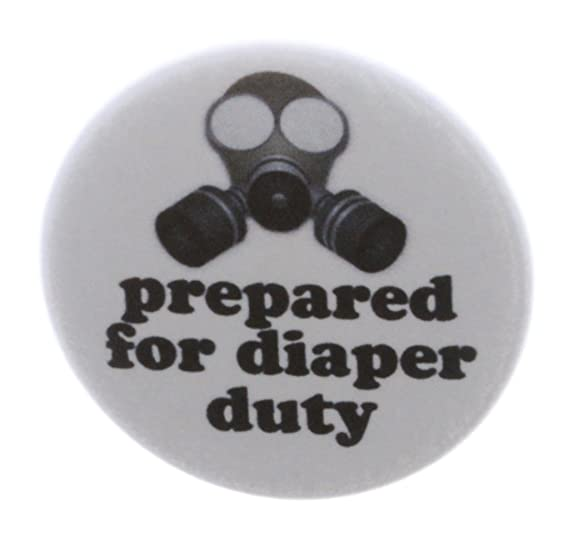 amazon com gas mask prepared for diaper duty 2 25 keychain new