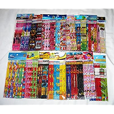 Disney 120 pcs Cartoon Character Licensed Wooden Pencil School Party Bag Fillers: Toys & Games
