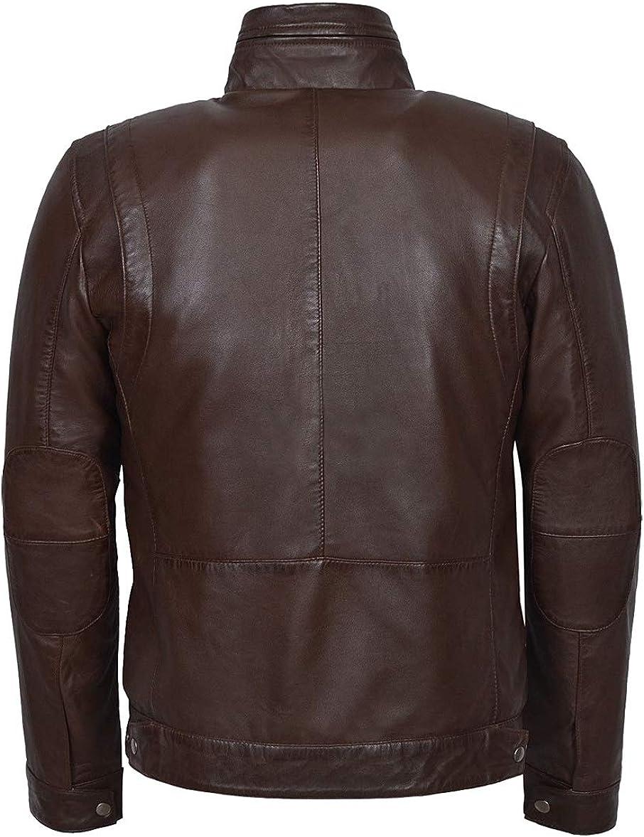 Mens Cafe Racer Biker Plain Waxed Tan Brown Real Sheepskin Leather Jacket