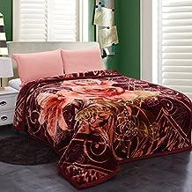 "JML Heavy Warm Blanket, Plush Blankets King Size 85"" x 95"" - Korean Style, Crystal Velvet, Silky Soft, 9 Pounds, 2 Ply Printed, Wrinkle and Fade Resistant Hypoallergenic Raschel Fleece Blanket"