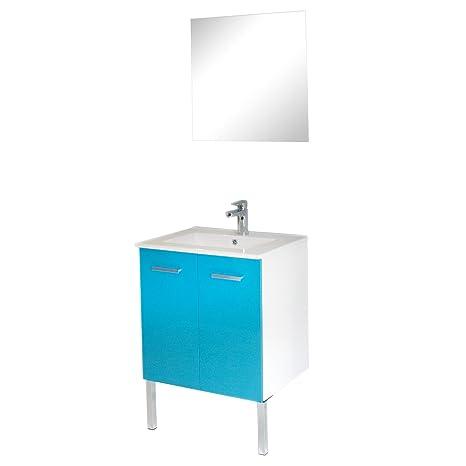 Tais Ensemble de meubles de salle de bains 60cm Bleu lagon ...