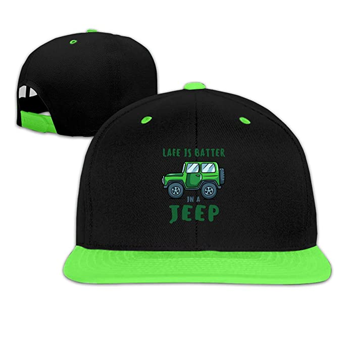 773bb79b Image Unavailable. Image not available for. Color: Life is Better Jeep Boy  and Girls Hip Hop Baseball Cap Green