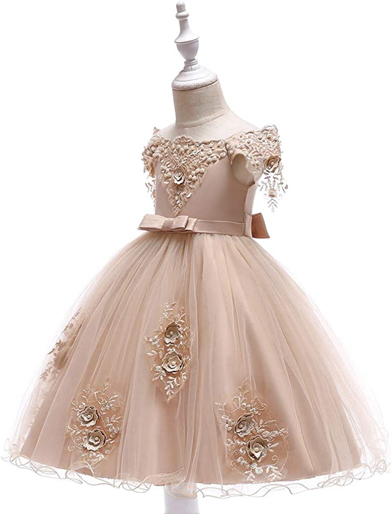 Toddler Girls Christmas Party Dress Children Wedding Floral Sleeveless Pageant Long Dresses 3-9 Years Old