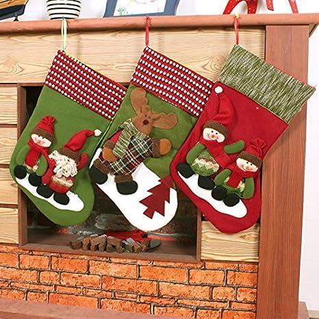 Calcetines de Navidad decoración Santa muñeco de nieve que gigante Navidad calcetines Navidad decoración de Navidad regalo bolsa,Muñeco de nieve verde: ...
