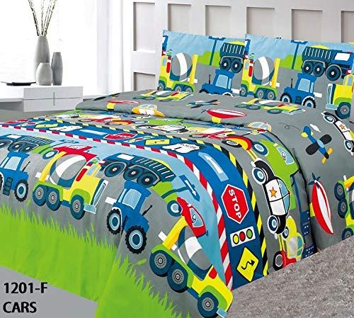 Jasmine Linen 2 PC Kids Children Teens Bedspread Quilt Coverlet Set Multi Color Twin & Full (Cars, Twin)