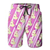Big Boy's Swim Trunks Beach Board Shortscute Furry Llama Girl Bow Quick Dry XL