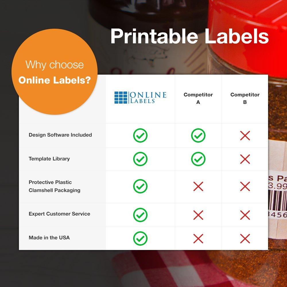 Online Labels - 3'' x 2'' Rectangle Labels - Pack of 1,000 Labels, 100 Sheets - Inkjet/Laser Printer
