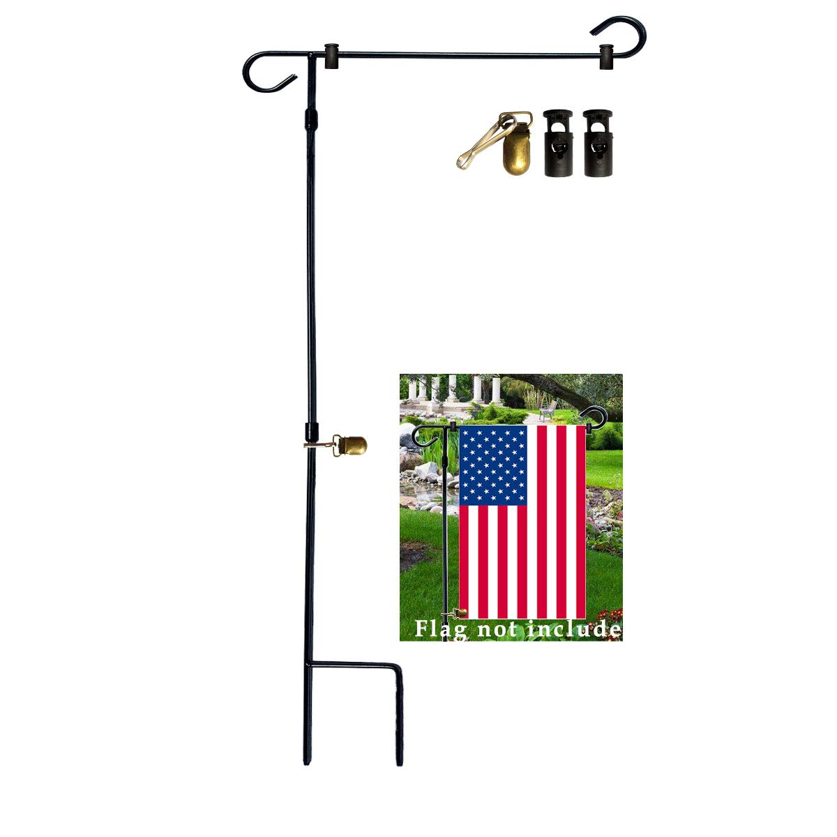 VIEKEY Garden Flag Stand-Pole-Holder with Flag 2 Stopper and 1 Clip 38 x 17.5 Inch Made of Iron and Coated Weather-Proof Paint