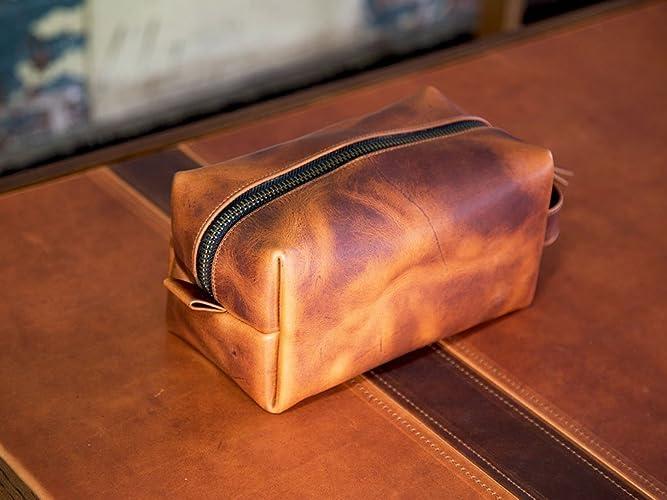 e5ee3ba2fa3e Travel Toiletry Bag in Full-Grain Chestnut Leather Portable Dopp Kit for  Shaving and Grooming Supplies