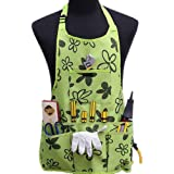 Oxford Cloth Work Apron Garden Apron Painting aprons for Home Garden Waterproof,Heavy Duty Work Apron with Tool Pockets Adjustable up to XXL for Men & Women