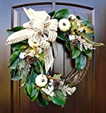 """Fall Thanksgiving Magnolia Wreath with Cotton, Cream Pumpkin and Berry Accents with Pine Cones and Chevron Print Bowin 20-22"""" Diameter"""