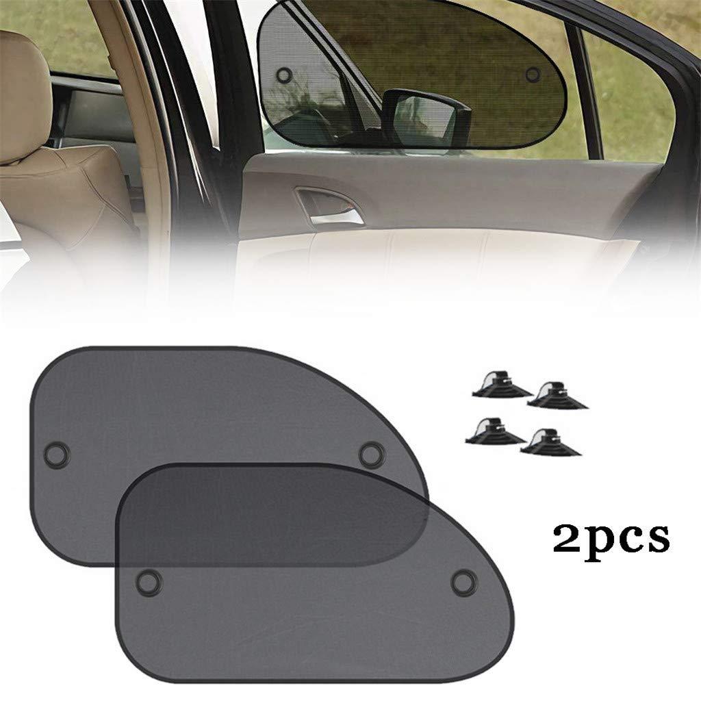 A Car Shade Cover 2PCS Adjustable Auto Car Side Window Sun Shade Black Mesh Solar Protection Covers Visor Shield Sunshade UV Protection ALINKCO Car Window Shades