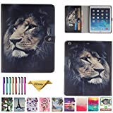 iPad 5/Air Case, JZCreater [Card Slots] PU Leather Kickstand Case Cover Flip Folio Wallet Protective Case for iPad 5 / Air(9.7 Inch) [Free Cleaning Cloth,Stylus Pen], Lion