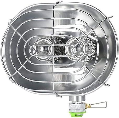 BRS Calefactor de Camping Estufa de calefacción al Aire Libre de Rayos Infrarrojos Estufa de Quemador Doble Calefactor de Gas