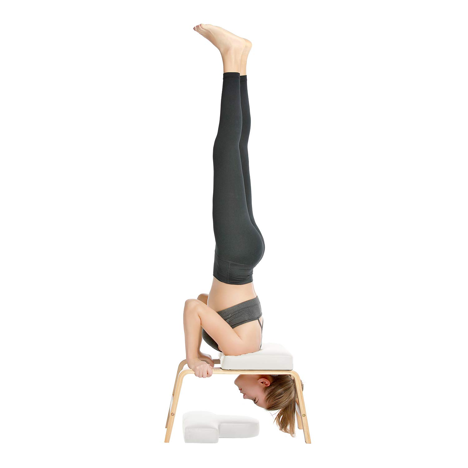 Desire Life Yoga Headstand Bench - Stand Yoga Chair for Family, Gym - Wood and PU Pads - Relieve Fatigue and Build Up Body (White) by Desire Life (Image #1)