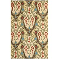 Safavieh Chelsea Collection HK382C Hand-Hooked Green and Multi Premium Wool Area Rug (6 x 9)