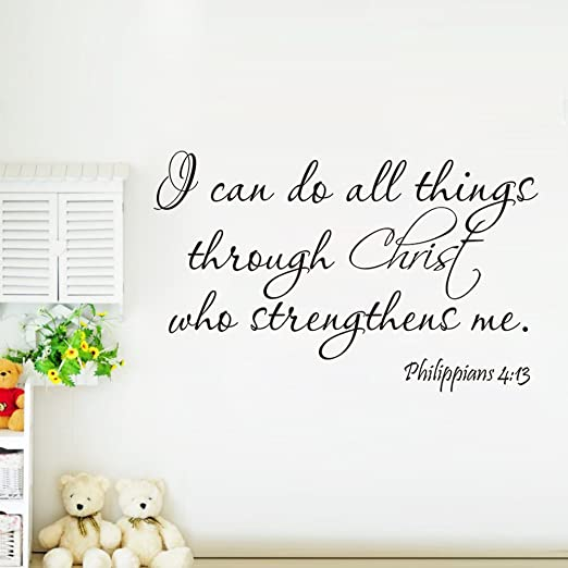 Amazon Witkey I Can Do All Things Through Christ Who Sthenthens Me Removable Vinyl Wall Sticker Quote Mural Decal Art Decor Bedroom Living Room Baby