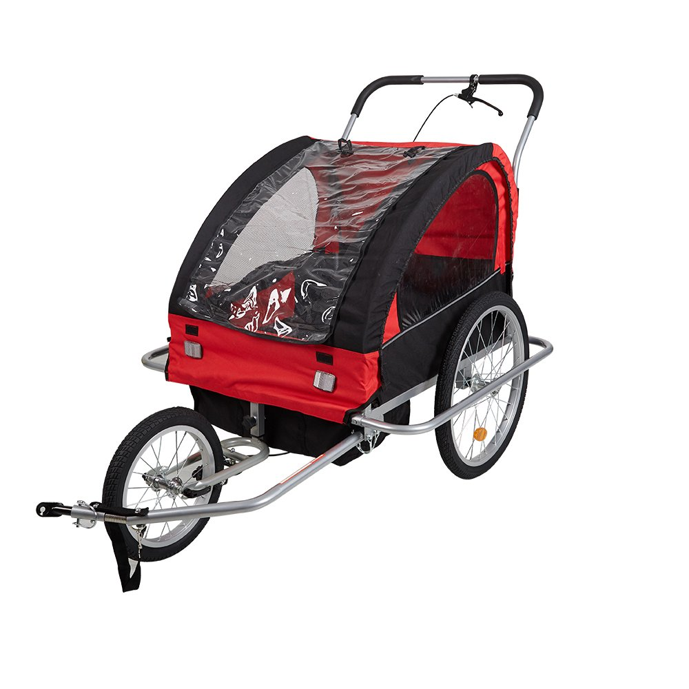 Lucky Tree Pet Dog Bike Trailer Bicycle Trailer Stroller Jogging w/ Suspension (Red)
