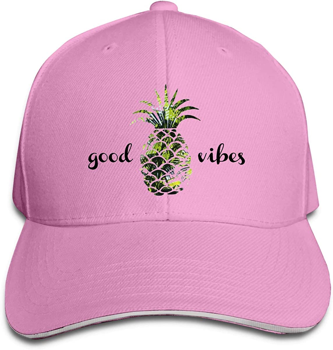 Good Vibes Pineapple Palm Tree Classic Adjustable Cotton Baseball Caps Trucker Driver Hat Outdoor Cap Pink