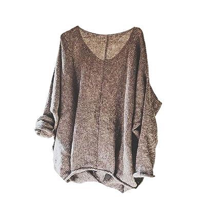 61ea36fa26827b Amazon.com  Shuohu Long Sleeve Top V-Neck Knit Casual Solid Color ...