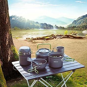 Overmont Tragbar Aluminium Camping Wasserkocher Kessel Teekanne Kaffeekanne FDA genehmigt f/ür Outdoor Picknick Wandern 1,2I