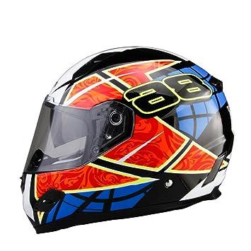 Casco de motocicleta Certificación Dot Fiberglass Shell Street bike motos de carreras de caballo casco azul