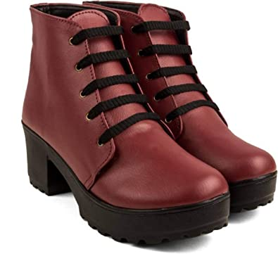 7ac91e4f73d89 ROCKSY Nappa Leather Ankle Length Lace-Up Casual High Neck Boots for Women    Girls  3 Colours   Black