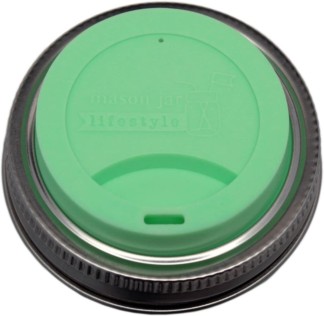 MJL Silicone Drinking Lids with Stainless Steel Bands for Mason Jars (2 Pack, Mint Green, Regular Mouth)