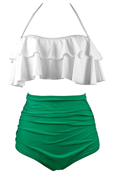 Amazon.com  Women s Retro Falbala High Waisted Swimsuit Halter Bikini Set  Top Bottom Swimwear  Clothing df2404c03956