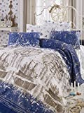 Mariner Coverlet Set, 100% Cotton - Ships are Floating in Sea, Blue and Cream, Old Compass - Coverlet Size (78.7'' x 92.5'') - Set of 4 - Coverlet, Flat Sheet and Two Pillowcases for Full and Double Bed